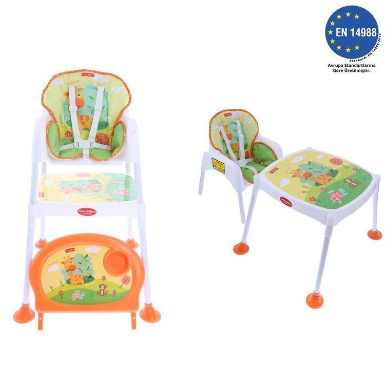 Pocket - Pocket & Mama Lovely Lion - Çalışma Masalı Mama Sandalyesi Turuncu