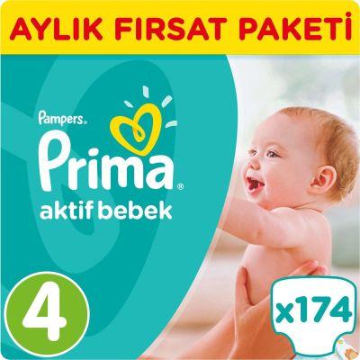 Prima - Prima Bebek Bezi Aktif Bebek 4 Beden Maxi Aylık Fırsat Paketi Paket 174 Adet