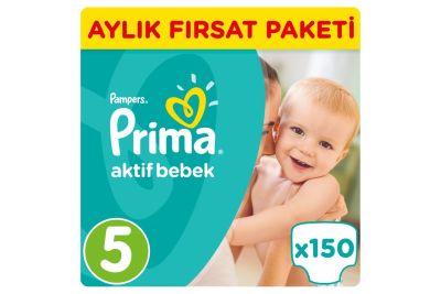 Prima - Prima Bebek Bezi Aktif Bebek 5 Beden Junior Aylık Fırsat Paketi Paket 150 Adet