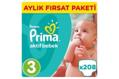 Prima - Prima Bebek Bezi Aktif Bebek 3 Beden Midi Aylık Fırsat Paketi Paket 208 Adet