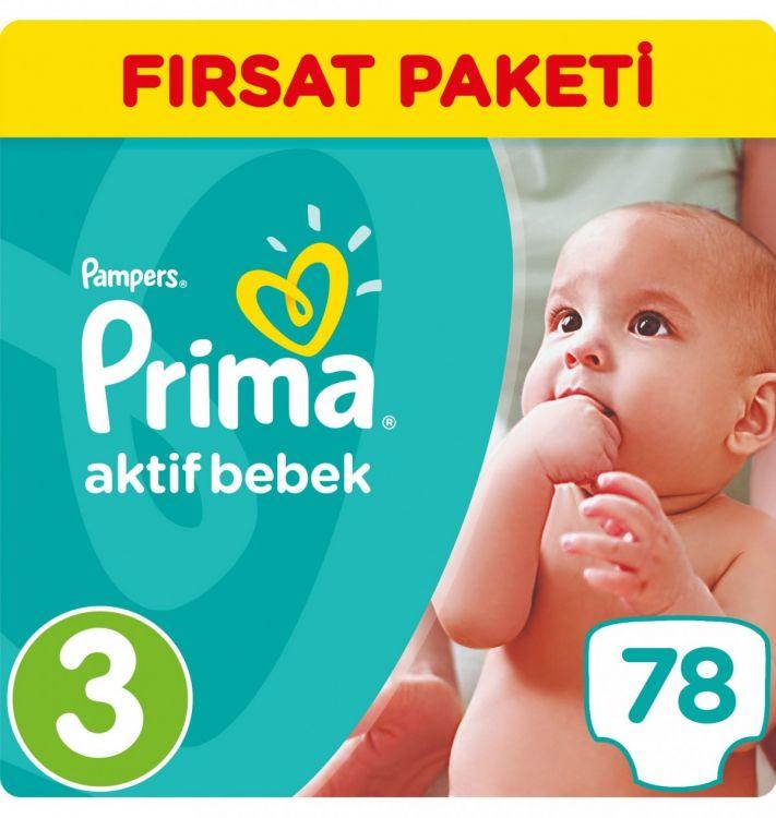 Prima - Prima Bebek Bezi Aktif Bebek 3 Beden Midi Fırsat Paketi 78 Adet