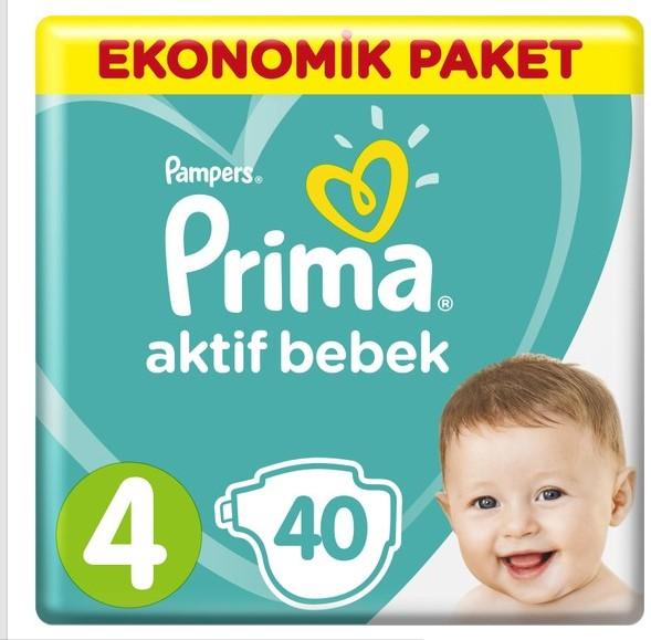 Prima - Prima Bebek Bezi Aktif Bebek 4 Beden Maxi Ekonomik Paket 40 Adet