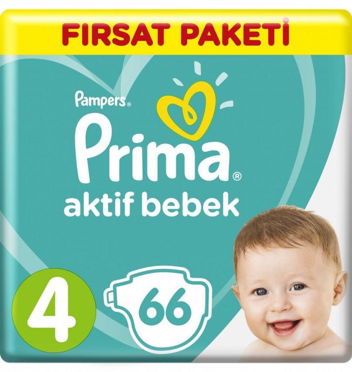 Prima - Prima Bebek Bezi Aktif Bebek 4 Beden Maxi Fırsat Paketi 66 Adet