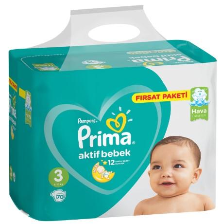 Prima - Prima Bebek Bezi Aktif Bebek 3 Beden Midi Fırsat Paketi 6-10 kg 70 Adet