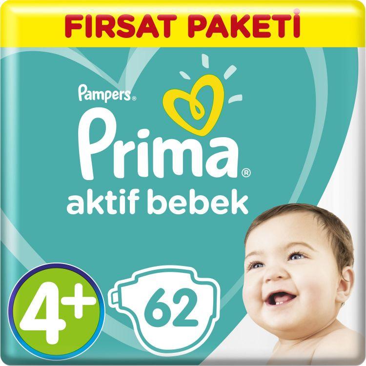 Prima - Prima Bebek Bezi Aktif Bebek 4+ Beden Maxi Plus Fırsat Paketi 62 Adet