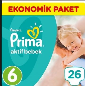 Prima Bebek Bezi Aktif Bebek 6 Beden Ekstra Large Ekonomik Paket 26'lı