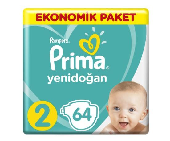 Prima - Prima Bebek Bezi Aktif Bebek Ekonomik Paketi 2 Beden 64 Adet