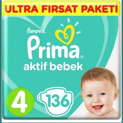 Prima - Prima Bebek Bezi Aktif Bebek Ultra Fırsat Paketi 4 Beden Midi 136 Adet