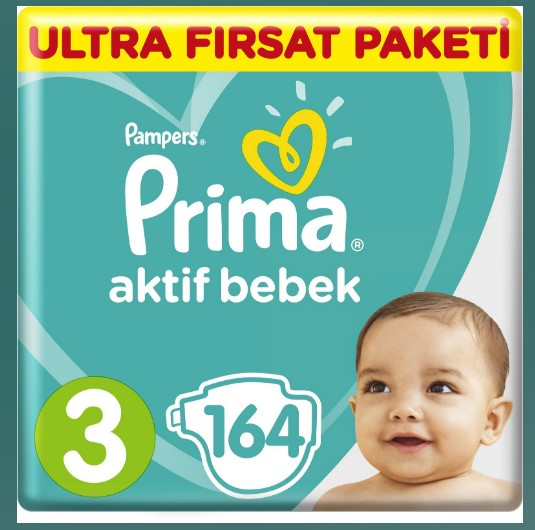 - Prima Bebek Bezi Aktif Bebek Ultra Fırsat Paketi 3 Beden Midi 164 Adet