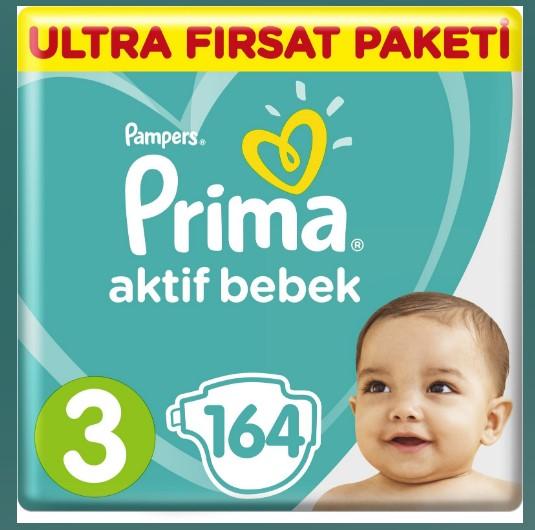 Prima - Prima Bebek Bezi Aktif Bebek Ultra Fırsat Paketi 3 Beden Midi 164 Adet
