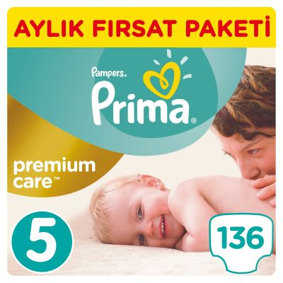 Prima - Prima Bebek Bezi Premium Care 5 Beden Junior Aylık Fırsat Paketi 136 Adet