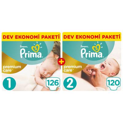 Prima - Prima Bebek Bezi Premium Care Yenidoğan Aylık Fırsat Paketi (1 Beden 126 Adet + 2 Beden 120 Adet)