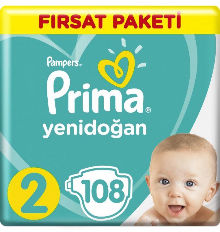 Prima - Prima Bebek Bezi Yeni Bebek 2 Beden Mini Fırsat Paketi 108 Adet