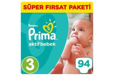 Prima - Prima Bebek Bezi Aktif Bebek 3 Beden Midi Süper Fırsat Paketi 94 Adet