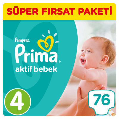 Prima - Prima Bebek Bezi Aktif Bebek 4 Beden Maxi Süper Fırsat Paketi 76 Adet