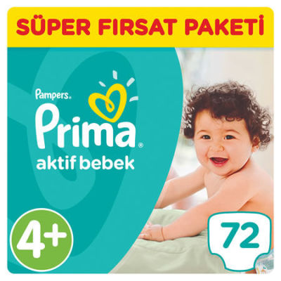 Prima - Prima Bebek Bezi Aktif Bebek 4+ Beden Maxi Plus Süper Fırsat Paketi 72 Adet