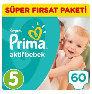 Prima - Prima Bebek Bezi Aktif Bebek 5 Beden Junior Süper Fırsat Paketi 60 Adet
