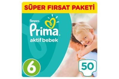 Prima - Prima Bebek Bezi Aktif Bebek 6 Beden Ekstra Large Süper Fırsat Paketi 50 Adet