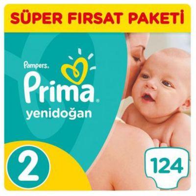 Prima - Prima Bebek Bezi Yeni Bebek 2 Beden Mini Süper Fırsat Paketi 124 Adet