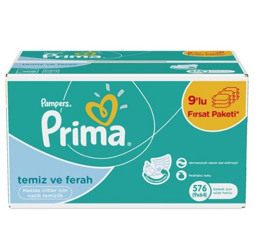 Prima - Prima Pampers Islak Havlu Fresh 9 Lu Mega 64 Lü