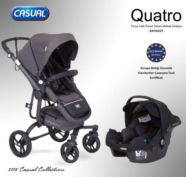 Casual - Quatro Trona Safe Travel Sistem Bebek Arabası - Antrasit