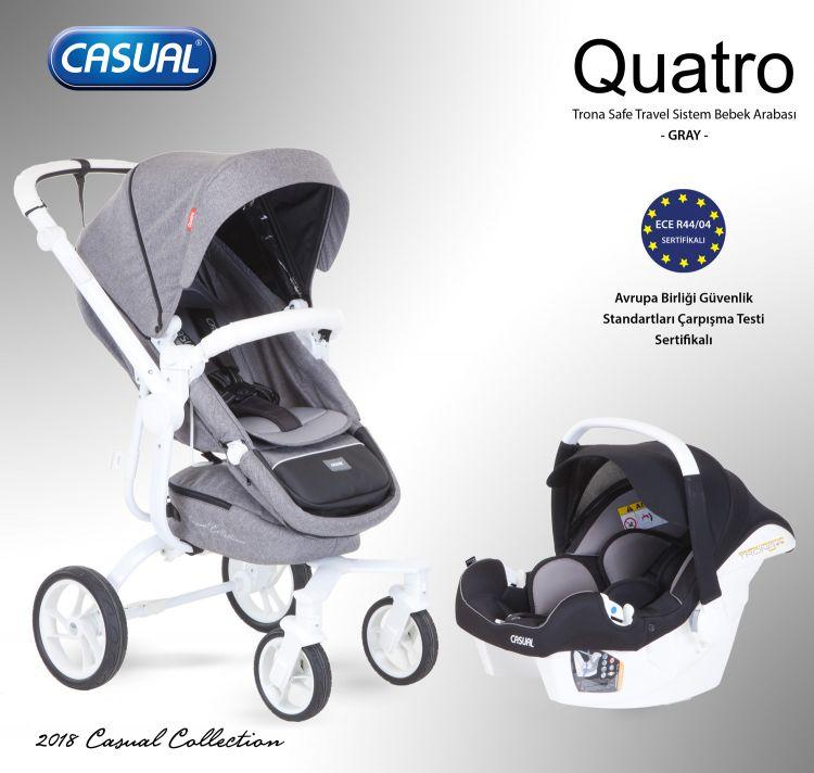 Casual - Quatro Trona Safe Travel Sistem Bebek Arabası - Gray