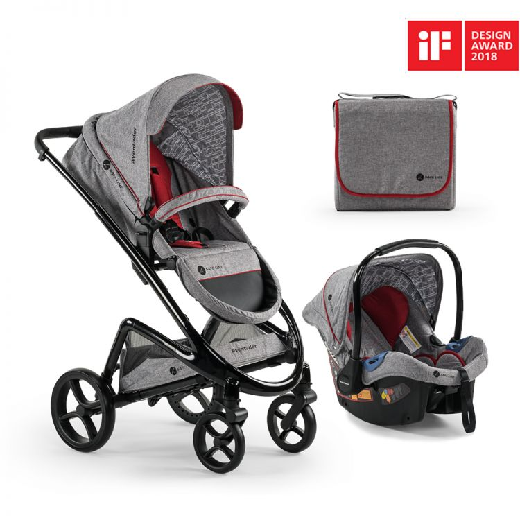 Safe Line - Safe Line Aventador Travel Bebek Arabası Stone-Grey/Black