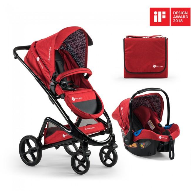 Safe Line - Safe Line Aventador Travel Bebek Arabası Premium-Red/Black