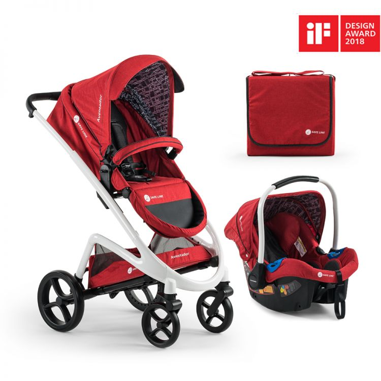 Safe Line - Safe Line Aventador Travel Bebek Arabası Premium-Red/White