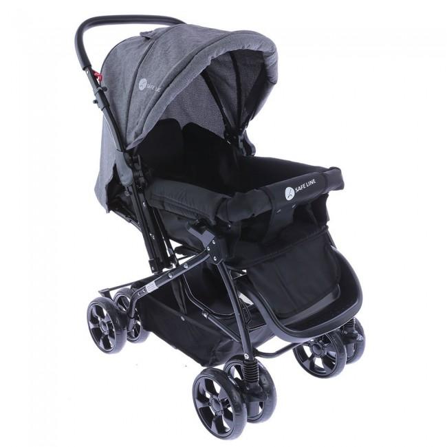 Safe Line - Safe Line Quick Step Çift Yönlü Bebek Arabası Gri