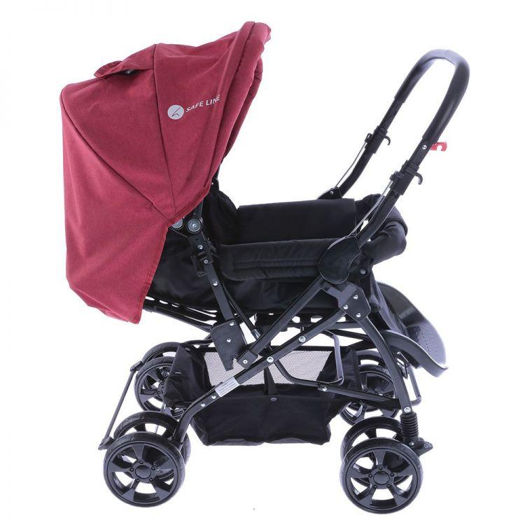 Safe Line - Safe Line Quick Step Çift Yönlü Bebek Arabası Kırmızı