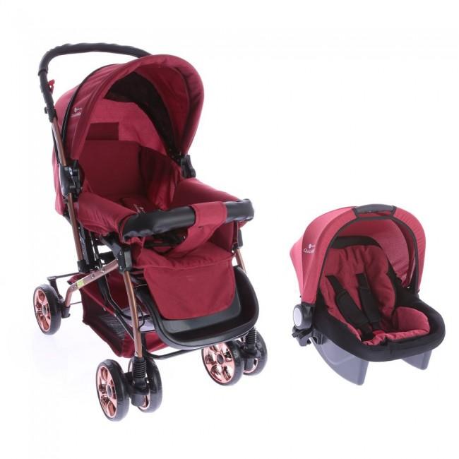 Safe Line - Safe Line Quickgold Çift Yönlü Travel Sistem Bebek Arabası Kırmızı