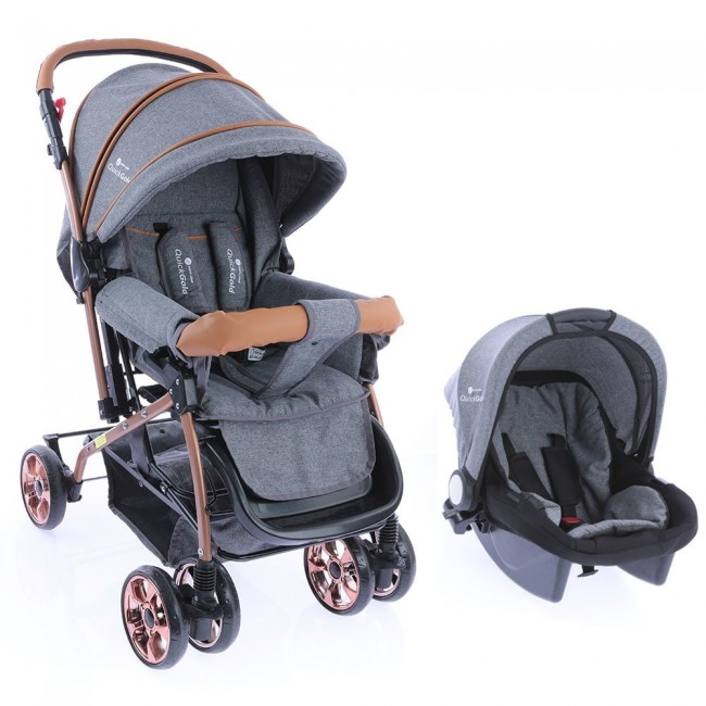 Safe Line - Safe Line Quickgold Çift Yönlü Travel Sistem Bebek Arabası Gri