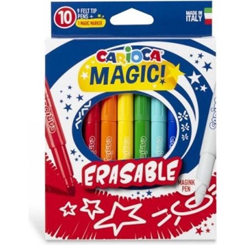 Carioca - Carioca Silinebilir Sihirli Keçeli Kalemler (9 Renk + 1 Düzeltici Beyaz Kalem)