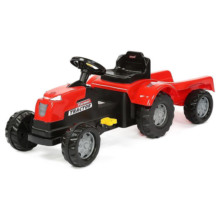 Şimşek Toys - Şimşek Pedallı Römorklu Traktör Kırmızı