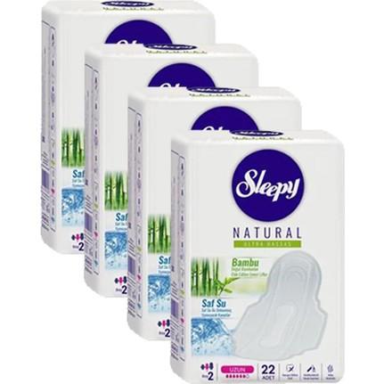 Sleepy - Sleepy Natural Ultra Hassas Hijyenik Uzun 22li Ped 4lü Set