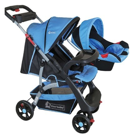 Star Baby - Star Baby Lion Çift Yönlü Travel Sistem Bebek Arabası Mavi