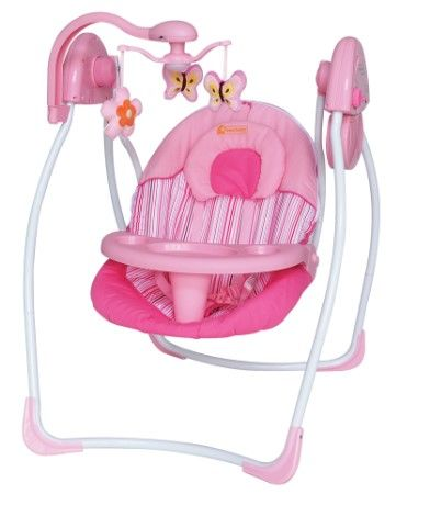 Star Baby - Star Baby Violet Elektrikli Bebek Salıncak Pembe