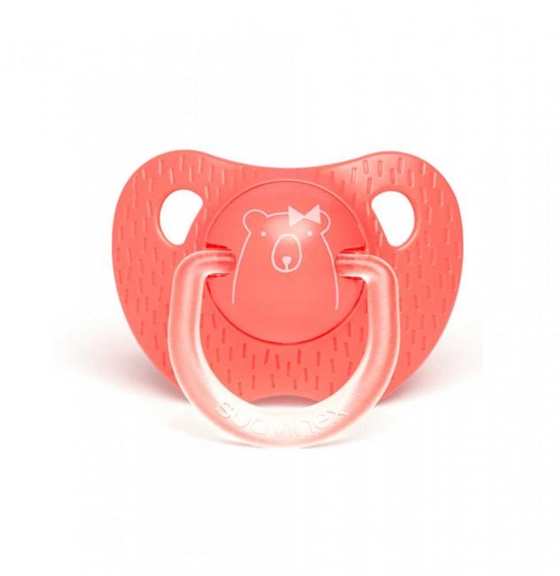 Suavinex - Suavinex Evolution Silikon Ortodontik Emzik (+6 ay) Bear Pembe