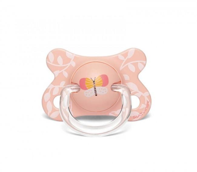 Suavinex - Suavinex Fusion Fizyolojik Silikon Emzik ( -2 aydan 4 ay) Butterfly Orange