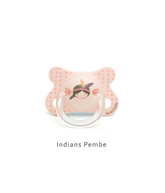Suavinex - Suavinex Fusion Ortodontik Silikon Emzik ( 4-18 ay) Indians Pembe