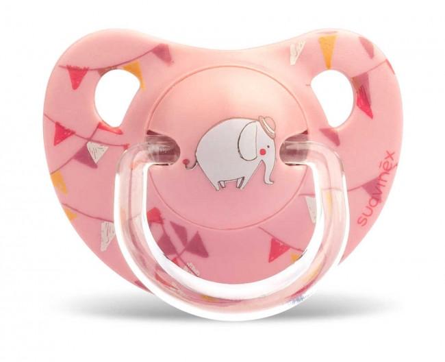 Suavinex - Suavinex Ortodontik Silikon Emzik ( 6 - 18 ay) Tekli Le Cirque (Pembe)
