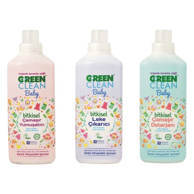 U Green Clean - U green Clean Baby Çamaşır Deterjanı 1 lt + Çamaşır Yumuşatıcı 1 lt + Leke Çıkarıcı 1 lt
