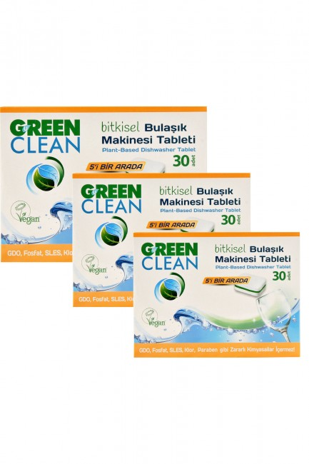 U Green Clean - U Green Clean Bitkisel Bulaşık Makinesi Tableti 30lu x 3 Adet