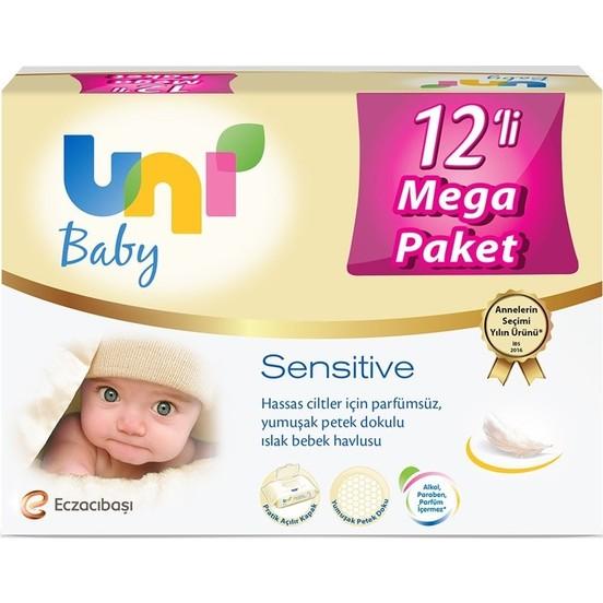 Uni Baby - Uni Baby Sensitive Islak Havlu 12li Ekonomik Fırsat Paketi 12x56 (672 Yaprak)