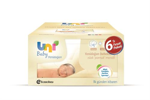 Uni Baby - Uni Baby Yenidoğan Islak Mendil 6lı