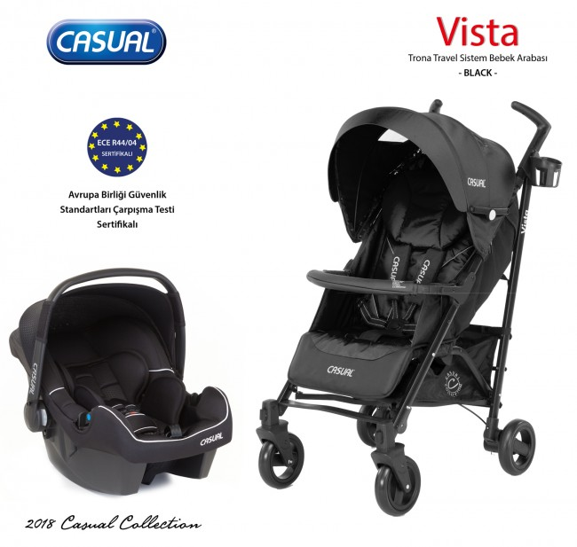 Casual - Vista Trona Travel Sistem Bebek Arabası - Black