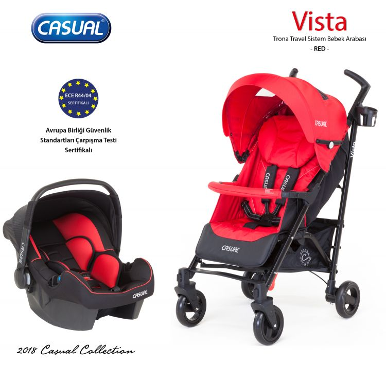 Casual - Vista Trona Travel Sistem Bebek Arabası - Red