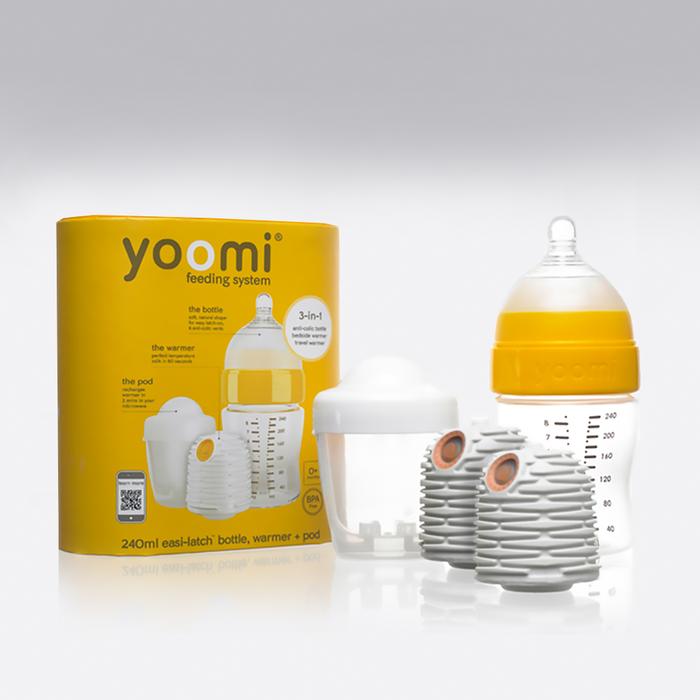 Yoomi - Yoomi 240ml Biberon + Isıtıcı + Yavaş Akışkan Emzik + Mikrodalga Isıtma Haznesi