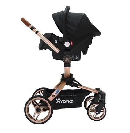 Yoyko 360 Derece Dönen Bebek Arabası 3 in 1 Siyah Rose Kasa
